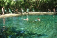 Swimming in a volcanic lake at Ometepe Island